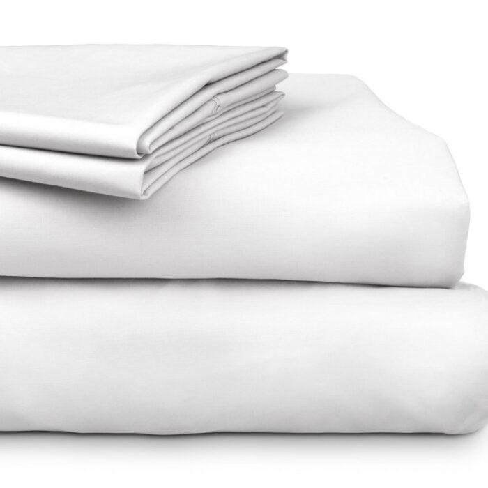 Bed Sheet Set 300TC 100% Cotton Algotron White @ BedLinenOnline.com.au
